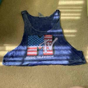 MTV Americana Crop Tank Top Music Television Med